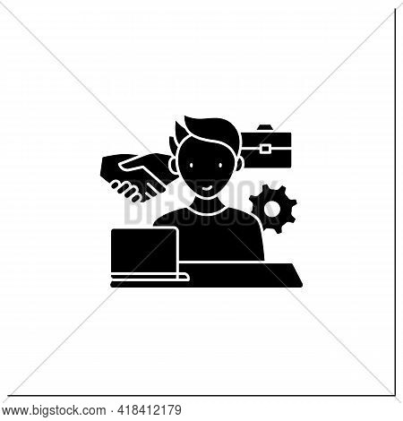 Workaholism Glyph Icon. Business Ethics.conduct Rules At Workplace. Workaholic Concept.filled Flat S