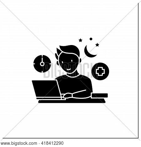 Workaholic Glyph Icon.workaholism Treatment. Necessary Therapy.man At Laptop.overworking Concept.fil