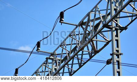 Railway Infrastructure. Fragment Of Electric Traction. Railway Traction Over Railway Tracks. Electri