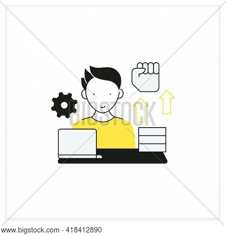 Workaholic Flat Icon. Motivational Causes. Man Works Sitting Near Laptop. Hard Working. Overworking