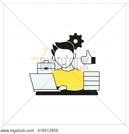 Workaholic Flat Icon. Behavioral Causes. Man Works On Laptop. Hard Working. Satisfied From Work.over