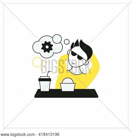 Workaholic Flat Icon. Cognitive Causes. Man Relax, Think About Productivity. Work Love Concept.vecto
