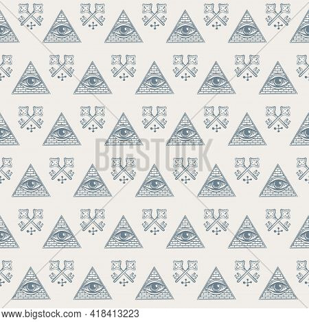Vector Seamless Pattern With An All-seeing Eye And Old Crossed Keys On A Light Backdrop. The Sacred
