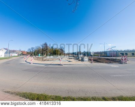 Pruszcz Gdanski, Poland - April 25, 2021: Work On The Preparation Of The Square In Connection With T