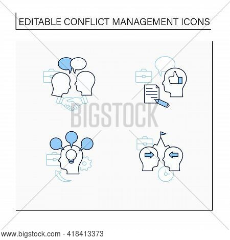 Conflict Management Line Icons Set. Conflict Between Two Persons. Showing Respect, Feedback, Accommo