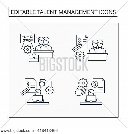 Talent Management Line Icons Set.payroll Management, Project Management, Employee Task Management, S