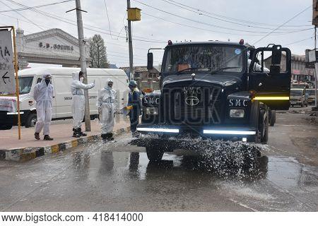 Vehicles Trucks Are Sanitizing Houses