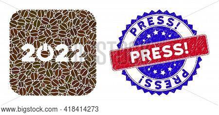 Vector Mosaic Start 2022 Caption And Grunge Bicolor Press Exclamation. Seal. Mosaic Start 2022 Capti