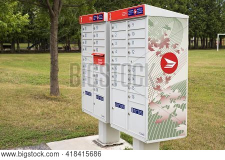 Canada Post Mail Boxes Set In The Neighborhood Community