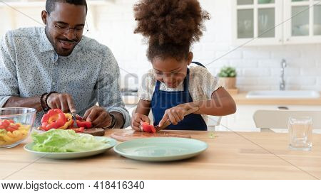 Happy African American Daughter Kid Helping Dad To Prepare Dinner