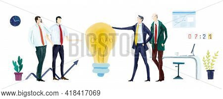 Businesspeople Working With Light Bulb As Symbol Of Finding Solution.  Business People Working In Of