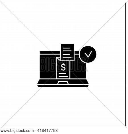 Digital Receipt Glyph Icon. E-receipt. Application Inform Customers Of Rebates, Discounts. Sent Via