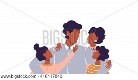 African Man Hugging His Son And Daughter. Faceless Dad And Mom Together With Children. Afro Father A