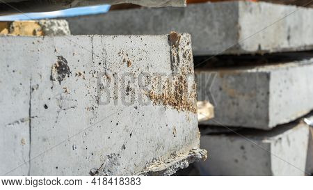 Close-up Corner View Of Reinforced Concrete Slabs. Construction And Manufacture Of Concrete Slabs An