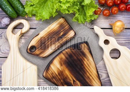 Handmade Chopping Boards. Fresh Vegetables Near The Cutting Boards. View From Above