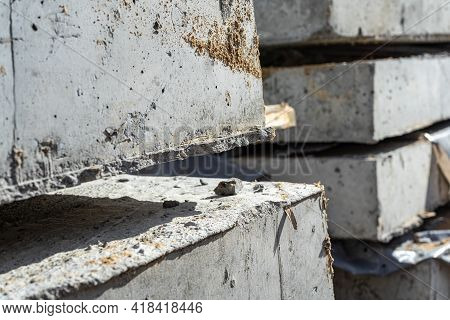 Reinforced Concrete Slabs Angular Close-up View. Construction And Production Of Concrete Slabs And F