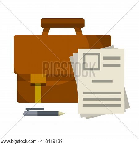 Vector Suitcase And Sheet Of Paper. Business Icon. Brown Case And Pen. Cartoon Flat Illustration. Pa