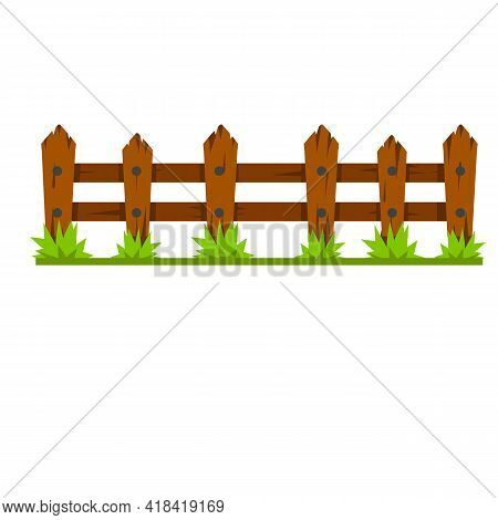 Wooden Fence. Rustic Wall Of Planks And Logs. Element Of Village And Countryside. Summer Background.