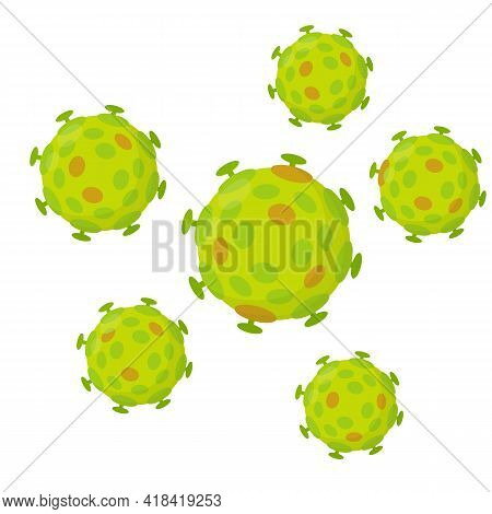 Set Of Viruses. Green Bacteria. Harmful Micro-organisms. Infection And Disease. Medical Care And Hea