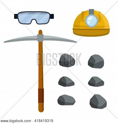 Set Of Objects Of Miner. Extraction Of Mineral. Builder Helmet With Lamp, Pickaxe, Stones. Cartoon F