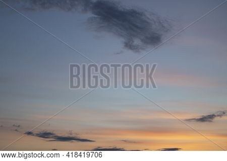 Blue And Pink Clouds In The Evening Sky, Nature Background