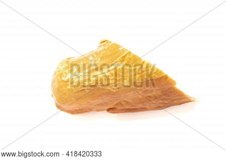 Piece Of Smoked Meat Isolated On White Background Close Up
