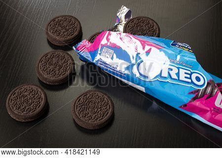 Belarus, Novopolotsk - 25 April, 2021: Oreo Cookies On A Wooden Table Close Up
