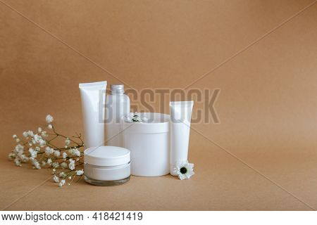 Set Natural Beauty Cosmetic Skincare Products With Flowers Sea Shells On Beige Background With Copy
