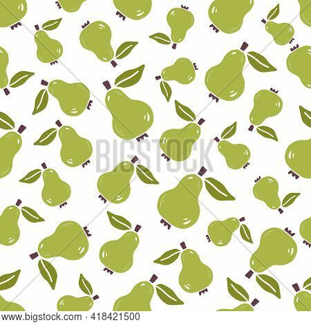 Hand Drawn Seamless Pattern Of Simple Pear. Doodle Sketch Style. Fruit Pattern For Food Shop, Pear W