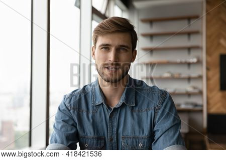 Portrait Of Young Man Talk On Webcam Video Call