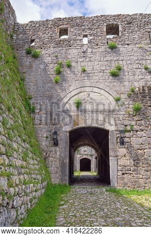 Ancient Fortifications In Balkans.  Albania, Shkoder City, Rozafa Castle.  Old Stone Wall And Entran