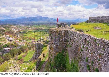 Ancient Fortifications.  Albania, Shkoder. Castle Of Rozafa. View Of  Shkoder City From Wall Of Fort