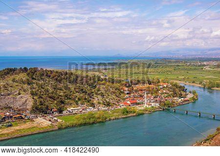 Albania, Shkoder City. View Of Lake Skadar And Bojana River From Wall Of Fortress Castle Of Rozafa