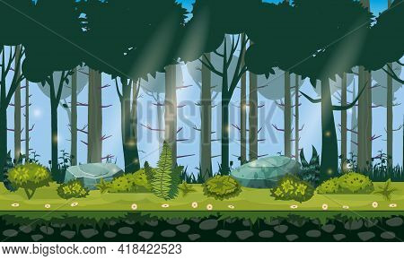 Forest Landscape Horizontal Seamless Background For Games Apps, Design. Nature Woods, Trees, Bushes,