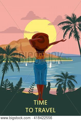 Woman On Seaside Resort In Beachwear Red Hat Enjoing Rest. Vacation Tropical Palms Exotic Flora, Sea