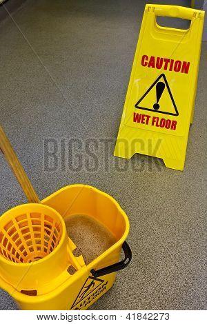 Mopping Floor Warning Sign