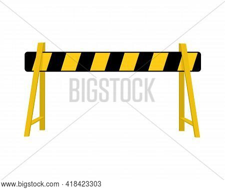 Road Barrier. Striped Traffic Obstacle Isolated On White Background. Work Zone Safety On Highway Con