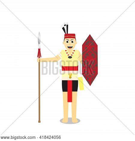 A Vector Of Dayak Warrior Holding