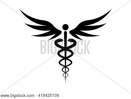 Medical Caduceus Symbol In Black Color. Logo Concept Of Public Health, Two Snake Torches Silhouette.
