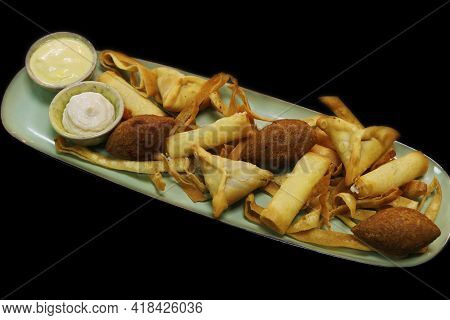 Lebanese Arabic Food Speciality Deep Fried Hot Mezze Selection Includes Spinach Fatayer, Cheese Roll