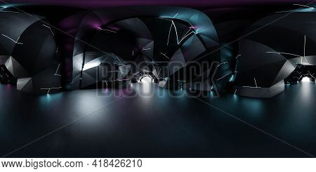 Full 360 Spherical Panorama View Of Futuristic Sci-fi Environment With Neon Lights 3d Render Illustr