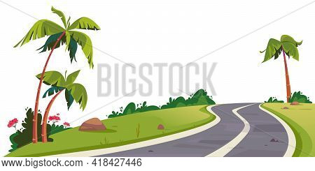 Vector Winding Road Surrounded By Palm Trees. Cartoon Track For Cars. Isolated On White Background B