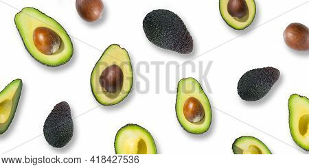 Fresh Ripe Green Avocados And Avocado Halves Isolated On White Background. Top View. Flat Lay. Banne