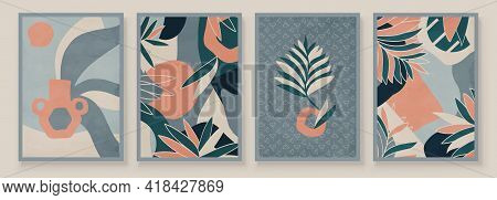 Teal And Peach Abstract Botanical Organic Art Illustration. Set Of Soft Color Painting Wall Art For