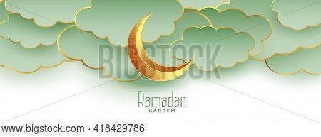 Beautiful Ramadan Kareem Eid Mubarak Banner With Moon And Clouds