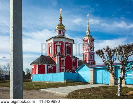 Suzdal, Church of holy noble princes Boris and Gleb on Borisov side (Borisoglebskaya church) in spring middle april, Russian heritage architecture, Golden Ring of Russia
