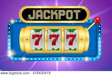 Set Of Slot Machine Golden Casino Or Golden Lucky Jackpot Gambling Machine Or Spin Fortune Casino Te