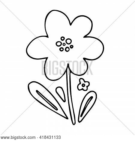 Flower Doodle - Simple Childish Naive Hand Drawn Floral Icon. Black Ink Flower With Leaves Outline I
