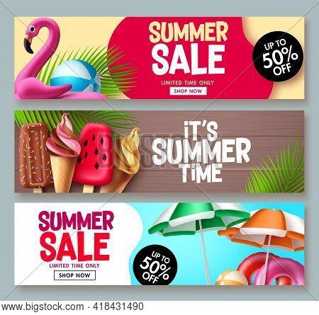 Summer Sale Vector Banner Design. Summer Promotion Flyer Set For Special Promo Seasonal Discount Des