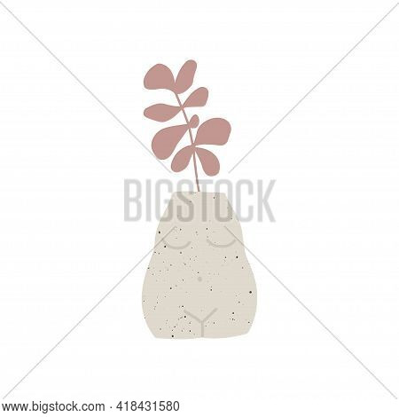 Trendy Ceramic Vase With Pink Plant Vector Illustration. Leaf In Pot Composition. Contemporary Art.